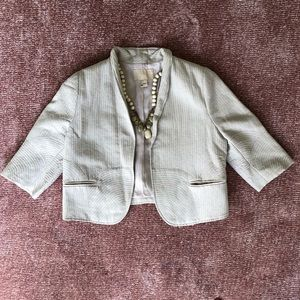 H&M crop oatmeal white silver threaded jacket 8